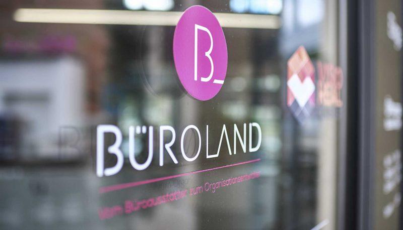 Büroland Logo auf Glaswand