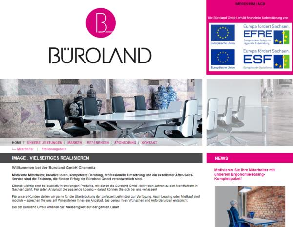 Website der Büroland GmbH bis 2019